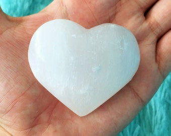 Selenite Heart Infused w/ Love and Reiki / Puffy Crystal Hearts