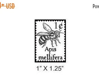 May Sale Bee Faux Postage Stamp Mail Art Rubber Stamp 170