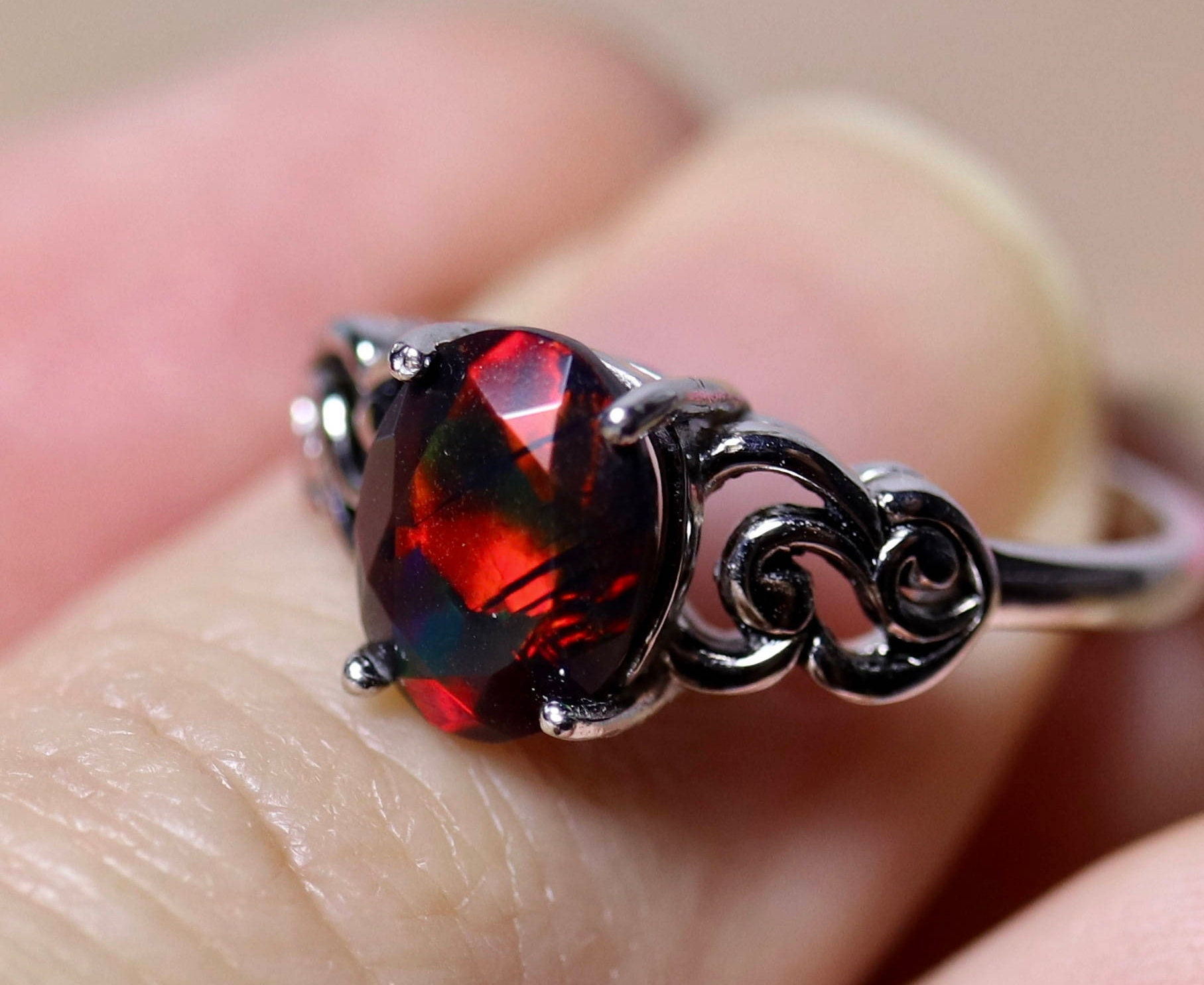EXTREME RED fire natural black opal ring, silver black opal ring ...