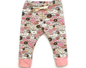 Baby & Toddler Small Donut cuff leggings, baby leggings, donut print, spoonflower, donuts, donut baby leggings