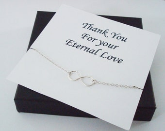 Infinity Sterling Silver Necklace ~~Personalized Jewelry Gift Card for Mom, Step Mom, Friend, Best Friend, Sister, Step Sister, Bridal Party