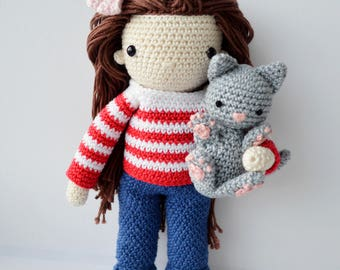 Crochet amigurumi  doll with a cat, cute amigurumi, crochet doll, amigurumi dolls for sale, stuffed toy, amigurumi doll, amigurumi cat