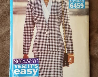 VINTAGE See and Sew Butterick 6459 Misses Jacket, Skirt and Blouse 12-16 or 18-22 (1992)