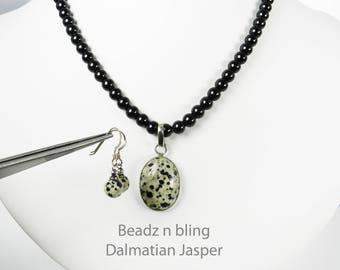 Black Pearls Dalmatian Jasper Pendant Earrings Set Leopard Print Stone Pendant