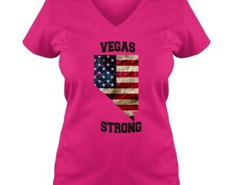 Vegas Strong Ladies V Neck T-Shirt