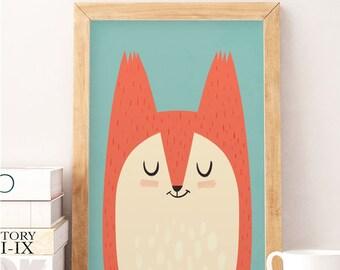 Fox print, Cute fox, Nursery wall decor, Cute art work, Fox poster, Kids fox print, Kids room decor, Minimalist kids art, Nursery decor