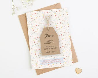Graduation Card Personalised Ditsy Floral