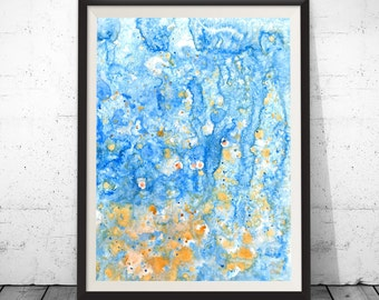 Abstract Print, Coastal Wall Art, Blue and Gold, Blue Abstract Print, Abstract Coastal Art, Navy Blue Artwork, Blue Wall Print, Blueprint
