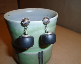 Black Matte Onyx and Sterling Silver Earrings