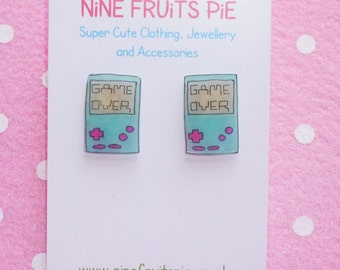 Retro Gamer Hand Held Console Earrings Studs - Aqua Blue and Bright Pink
