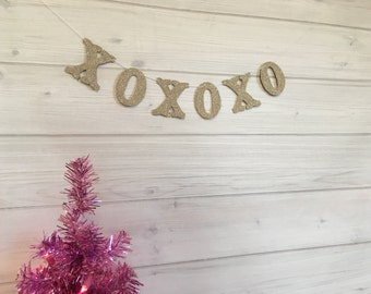 XOXOXO  Banner Garland Silver German Glass Glitter Shabby Chic Decor Boho Decor Vintage Decor Home Decor