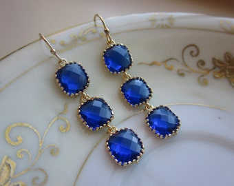 Cobalt Blue Earrings Gold three tier blocks Wedding Earrings - Bridesmaid Earrings - Bridal Earrings