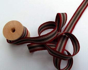 Vintage Style Ribbon Trim - olive, taupe, and red fabric tape - per meter