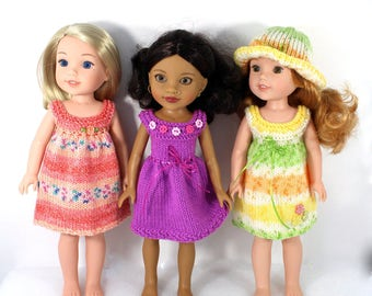 """Knitting Pattern for Dresses and Hat for WellieWishers Dolls (14,5"""") and Hearts For Hearts Girls Dolls (14"""")"""