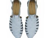Sky blue leather sandals, Alice, comfortable sandals by Tamar Shalem