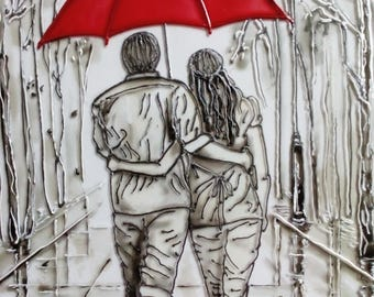 Wall stained glass panel Decor wall stained glass Custom stained glass panel Romantic painting red umbrella Stained glass art painting
