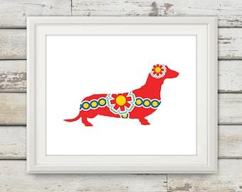 Swedish Dala Dachshund, Dachshund Art , Dachshund, Swedish Dala Horse, Wiener Dog, Swedish Horse, Swedish Dog, Dachshund Print