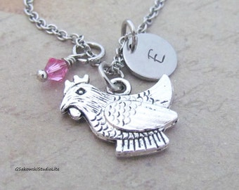 Chicken Charm Necklace, Personalized Antique Silver Hand Stamped Initial Monogram Hen Charm Necklace