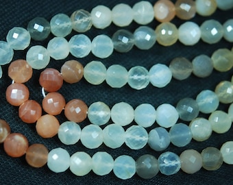 10 Inch Strand-Finest Quality Multi MOONSTONE Faceted Round BALLS Shape Beads, 5.5-6mm size
