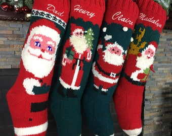 Personalized Christmas stockings hand knit wool vintage Santa sock