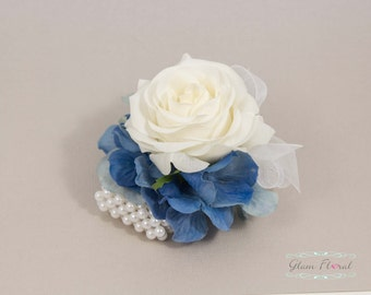 Petite Rose Wrist Corsage, Real Touch roses & royal blue hydrangeas, Cream White / Ivory Coral Peach Pink Red Fuchsia Pink Blue Purple