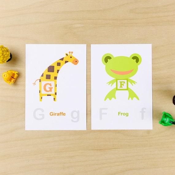 ABC Block Zoofufu Wall Cards Nursery decor Kids gift