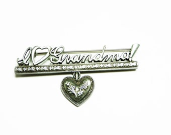 Vintage Grandma Brooch - I <Heart> Grandma with Dangling Heart - Pewter Tone Designer Signed J.J. for Jonette Jewelry Vintage Pin