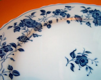 Royal Meissen China dinner plate fine china vintage japan 10 3/8 inches scalloped edge blue & white floral