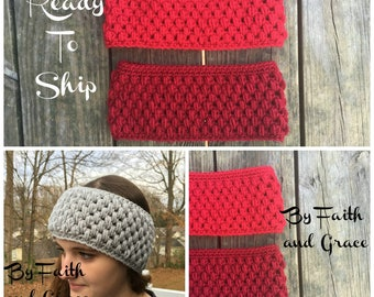 Ear Warmer - Valentine's Day - Crochet Ear Warmer - Ready To Ship - Cranberry or Red Ear Warmer  - Women's Accessories - Gifts For Her