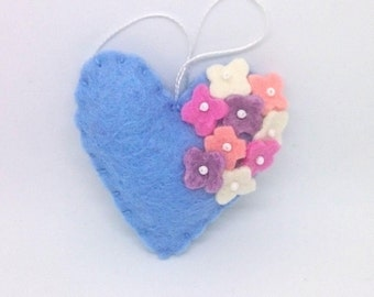 Felt heart ornament with flowers - blue with pink, white, lavender and peach - nursery decor - Spring nature decoration - ideas for Easter