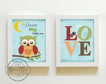 Owl Art for Kids Room, Kids Wall Art Baby Boy Nursery, Owl and LOVE Print For Boy Room, Baby Nursery prints, Owl  Decoration