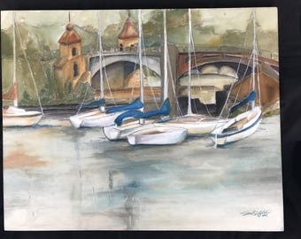 Sailboat Village    24 x 30       Original Watercolor Batik