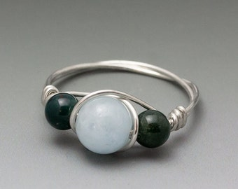 Aquamarine & Bloodstone Sterling Silver Wire Wrapped Ring - Made to Order, Ships Fast!