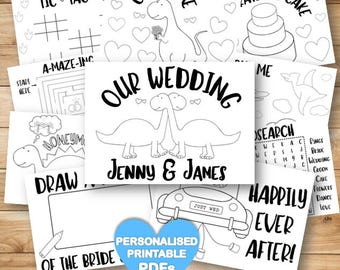 Personalized Dinosaur Wedding Coloring & activity book for Kids - 10 US Letter Size Pdfs - Reception Game Pages - US Spelling