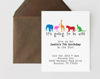 Animal Invitations // Zoo Invitations // Animal Stationary //Choose your colors