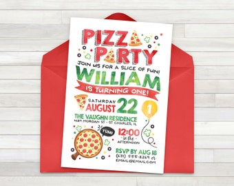 Pizza Party Invitation, Pizza Invitation, Pizza Party Invite, Pizza Birthday - Pizza Party - Pizza Birthday Party - Printable