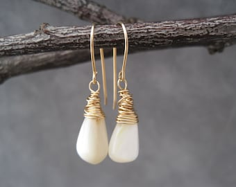 Mother of Pearl Earrings - Light,  Bright and White Mother of Pearl  Earrings - Small White Drop Earrings - Wire Wrapped