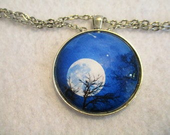 Super MOON & Shooting Star Night SKY Cabochon PENDANT Necklace