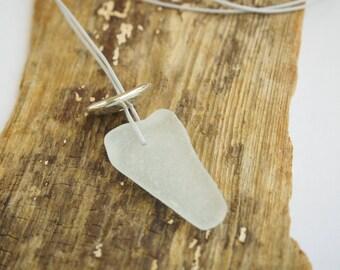 White Sea Glass Pendant, Silver and Genuine Sea Glass Necklace, Beach Wedding, Handmade Jewellery, Natural Beach Glass, Silver Bead Pendant