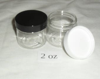 2 Ounce  PET Plastic  Jars Travel Size Containers with Cap Lot & U Pick Color- FREE SHIPPING