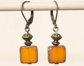 Orange Earrings Czech Glass Earrings Dangle Earrings Drop Earrings SMALL EARRINGS Gift for women Gift for her
