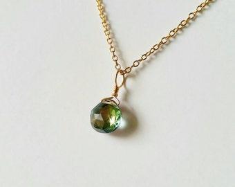 Mystic Topaz and 14k gold fill minimalist necklace