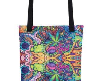Trippy Weed Tote Bag Tumblr Hipster Grunge Aesthetic Streetwear Pastel Psychedelic Urban Rad Alien Acid LSD Drugs