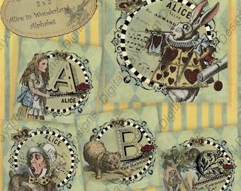 Instant Digital Download Printable Collage Sheet - Alice Alphabet in Blue -2 x 2 size in jpg, png or pdf scrapbook journal