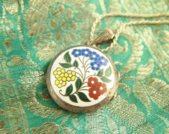 Enamel Flower Locket - Flower Locket - Sterling Silver Locket - Vintage Locket - Wedding Locket