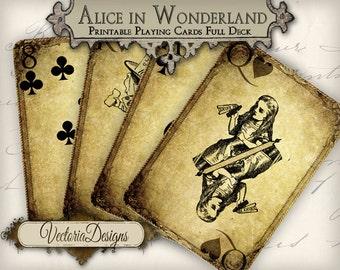 Grunge Alice in Wonderland playing cards full deck card game crafting craft art instant download printable digital collage sheet VD0273
