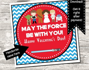 Instant Download Star Wars May The Force Be With You Valentine Square Tag Gift Tag Treat Tag Digital Printable