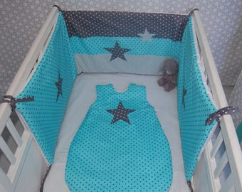 Round baby bed, fabric cotton, lagoon blue, green and grey star pattern, birth gift
