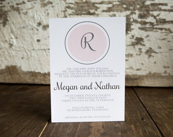 Wedding Invitaiton, Monogram Wedding Invitation, Initial Invitation -Monogram Wedding Suite : A7 Wedding Invitations