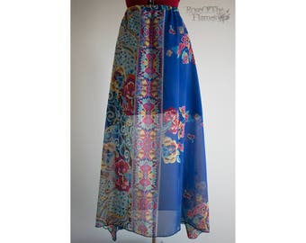 Flower skirt. Flowers skirt. Blue skirt. Boho skirt. Boho flower skirt. OOAK skirt. Bohemian skirt. Long skirt. High waist skirt. Folk skirt